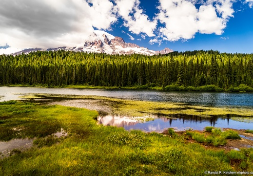 Mount Rainier, Reflection Lakes, Cloudy Day