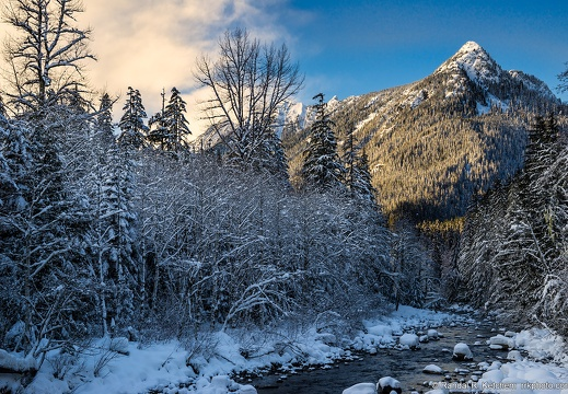 South Fork Stillaguamish River, Long Mountain, Cold Trees, Warm Sky