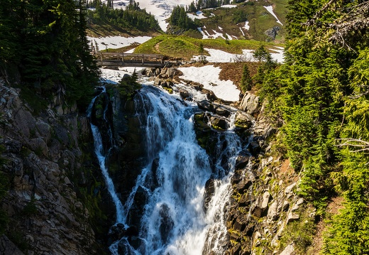 Mount Rainier at Myrtle Falls