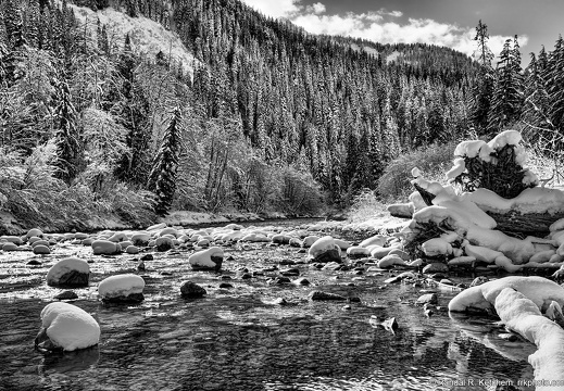 South Fork Stillaguamish River, End of the Road, Black and White
